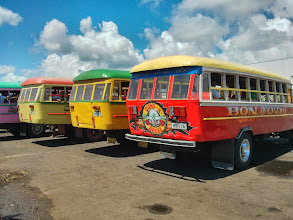 "Photo: Bus depot at Apia.  My favourite was a mural with the caption ""I've out drown you"".  Bon Jovi bus was a close second."