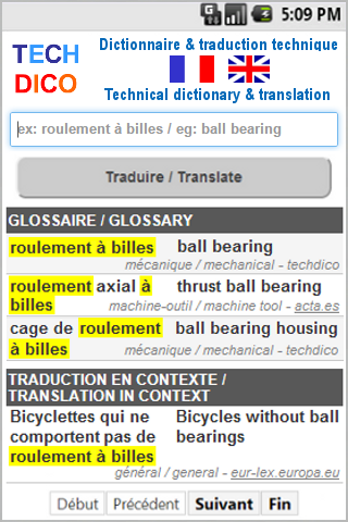 English<>French Dictionary- screenshot