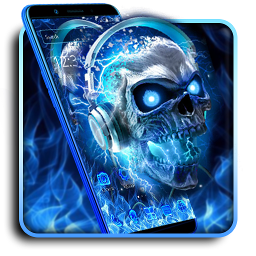 Blue Flaming Skull Theme Android APK Download Free By Fancy Keyboard & Launcher Themes 2019