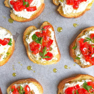 Easy Ricotta Roasted Red Pepper Crostini.