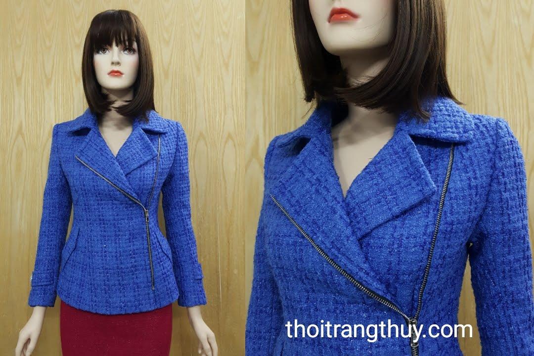 Áo khoác dạ nữ dáng ng cổ vest khéo khóa sườn V495 Hải Phòng