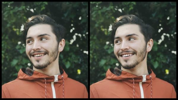 antes e depois da foto de um homem moreno sendo que uma das fotos o dente está mais branco
