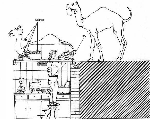 A diagrammatic drawing of the dummy and the small laboratory underneath.