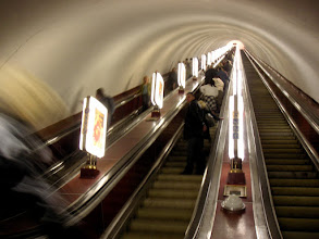Photo: Unequivocally the longest escalators in the world - 135m long with 743 steps each. Kreshatnik staion, Kiev
