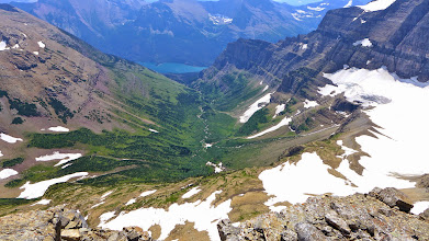 Photo: A look ahead at the second half of our hike - Sunrift Gorge with St. Mary Lake in distance