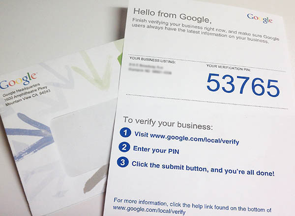 Google's verification mailer.