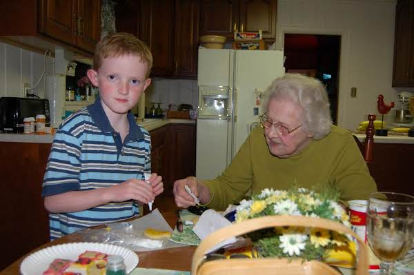 This Was Made In 2006, Grandmother And My Son, James, Were Decorating Easter Cookies . She Turns 93 In Jan. !
