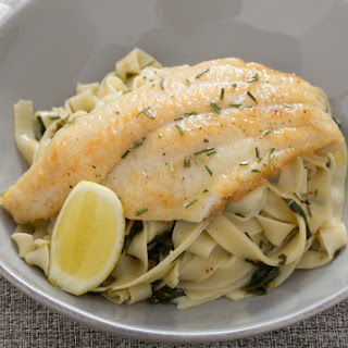 Catfish Piccata with Fresh Fettuccine & Spinach