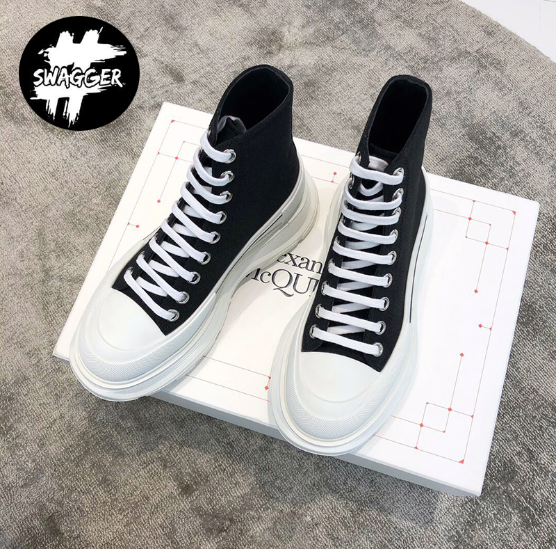 Giày Alexander Mcqueen Chunky Sole High Black White Like Auth