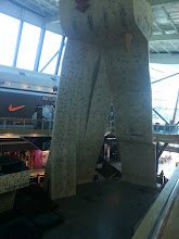 """Photo: I found a rock climbing wall at a Mall in Chile. The Mall is the first mall on the planet I see dedicated 100% to sports. Its obviously called """"Mall Sport"""". The Wall had on the right two a few 5.7 - 5.9 YDS routes and for about $20 USD you get to """"try"""" to climb it twice to get to the top without falling. Some sort of challenge. They didn't have climbing shoes for rent, so I just bouldered for a bit."""