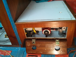 Photo: access panel to house battery bank's DC Shunt, On/Off Switch, and 300A ANL Fuse.