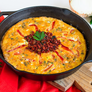 Spanish Chorizo and Roasted Red Peppers Frittata.