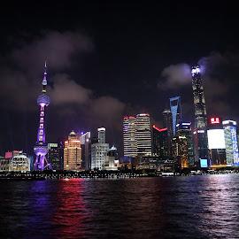 SHANGHAI AT NIGHT by Zac Rushbrook - City,  Street & Park  Skylines ( city, light, shanghai, dark, photo )