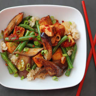Stir-Fried Eggplant and Green Beans with Tofu and Chili-Garlic Sauce.