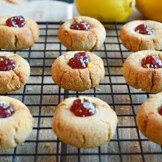 Lemon and Raspberry Thumbprint Cookies.