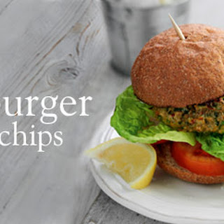 Curried Veggie Burger And Chips.
