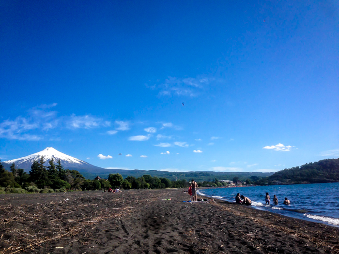 volcano villarrica as seen from the playa of lake villarrica pucon chile