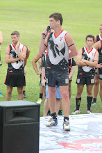 Photo: Swannies' Skipper, Dukesy, addresses the crowd the Bintangs and players. Photo, Anne-Marie Robb.