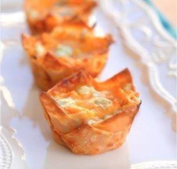 This Picture Is Of The Buffalo Chicken Cupcakes Using Wonton Wrappers.