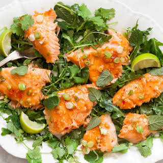 Slow-Roasted Salmon with Sweet Chili Glaze and Scallions.