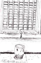 Photo: 空椅2012.06.12鋼筆 未坐人的空椅、尚未拉起鐵捲門的窗口,一個窗口見證了多少辛酸與思念,故事…待續…