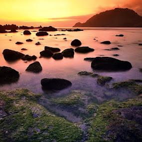 by N.T Irwanto - Nature Up Close Rock & Stone ( sunset, stone, sea, rock, sunrise, landscape )