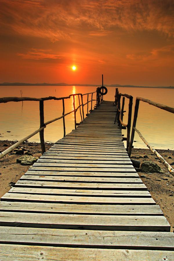 Sunrise Bridge by Danis Suma Wijaya - Landscapes Waterscapes