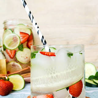 Strawberry, Mint, Lime + Cucumber Infused Water Cocktail.