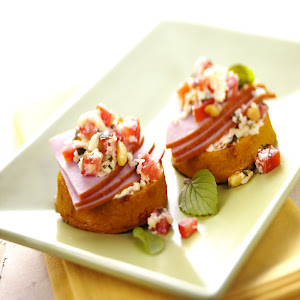 Breakfast Polenta Crostini with Ham & Wisconsin Asiago