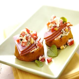 Breakfast Polenta Crostini with Ham & Wisconsin Asiago.