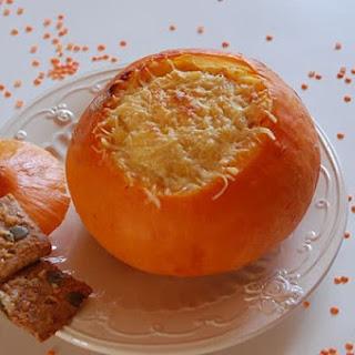 Pumkin Gratin with Coral Lentil Purre with Saffron.