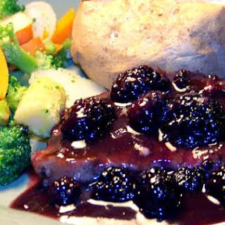 Pork Chops With Blackberry Port Sauce.