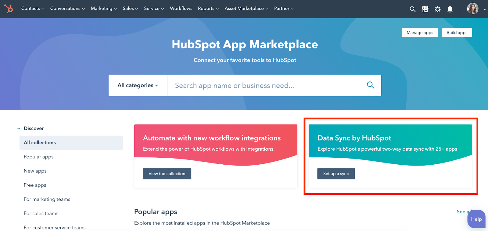 HubSpot screenshot showing data sync in app marketplace