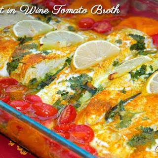 Baked Halibut in Wine Tomato Broth