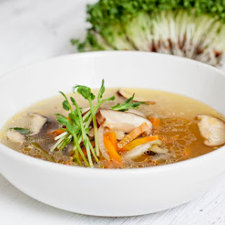 Japanese Enoki and Shiitake Mushroom Soup.