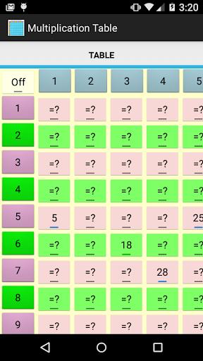 Multiplication Table Free