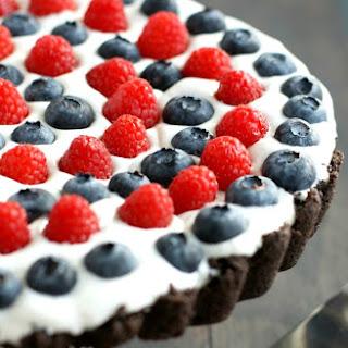 Patriotic Berry Tart with Oreo Cookie Crust.