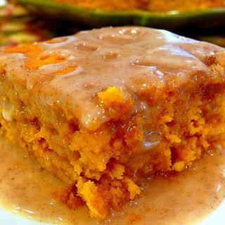Two-Ingredient Pumpkin Cake with Apple Cider Glaze.