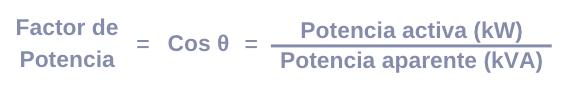 formula factor de potencia cos de angulo θ