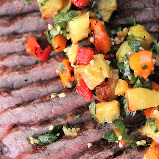 Himalayan Salted Flank Steak with Grilled Pineapple Salsa.