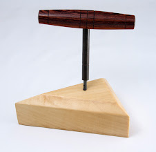 "Photo: MARK ADLER – 5"" x 1"" – Harpsichord Tuning Tool Handle, turned with Skew Chisel [Kingwood]"