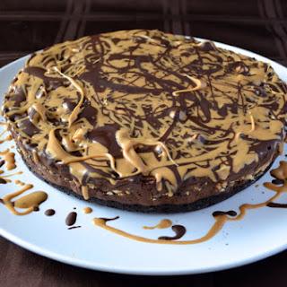 Chocolate Peanut Butter Truffle Pie with Brownie Crust.