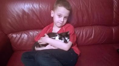 Photo: Kubuś, wielki miłośnik kotów z wyadotowaną od nas Kropką.