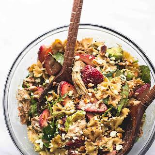 Strawberry Avocado Chicken Pasta Salad.