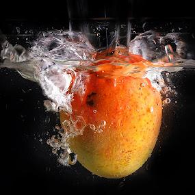 fresh mango by Ismed  Hasibuan  - Food & Drink Fruits & Vegetables ( water, red, splashing, food, fruits, bubbles, mango, yellow )