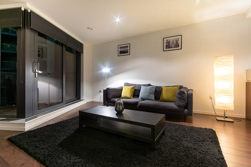 Living room at Baltimore Wharf, Canary Wharf Serviced Apartments