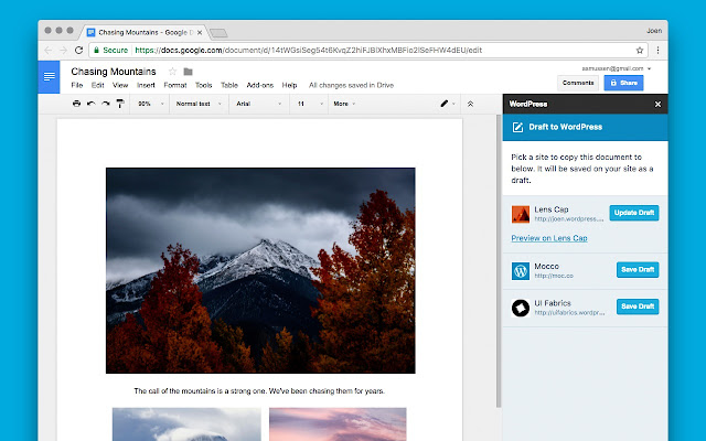 WordPress.com for Google Docs – Add-on für Google Docs Screenshot
