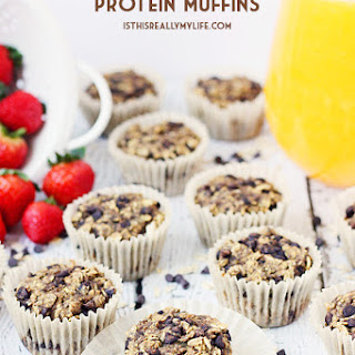 Oatmeal Chocolate Chip Protein Muffins.