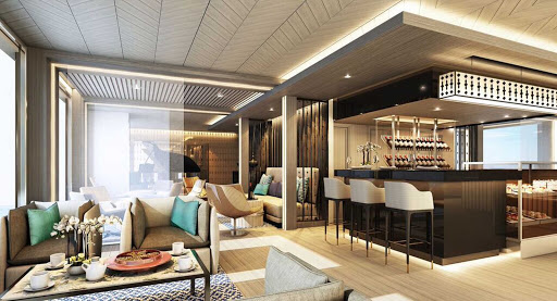 Scenic-Aura-Hires-Lounge - The main lounge on Scenic Aura, which sails the Irrawaddy River in Myanmar.