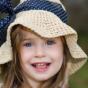 Cute Girl by Renee Crabtree - Babies & Children Child Portraits ( child, blue, smile, portrait, hat )